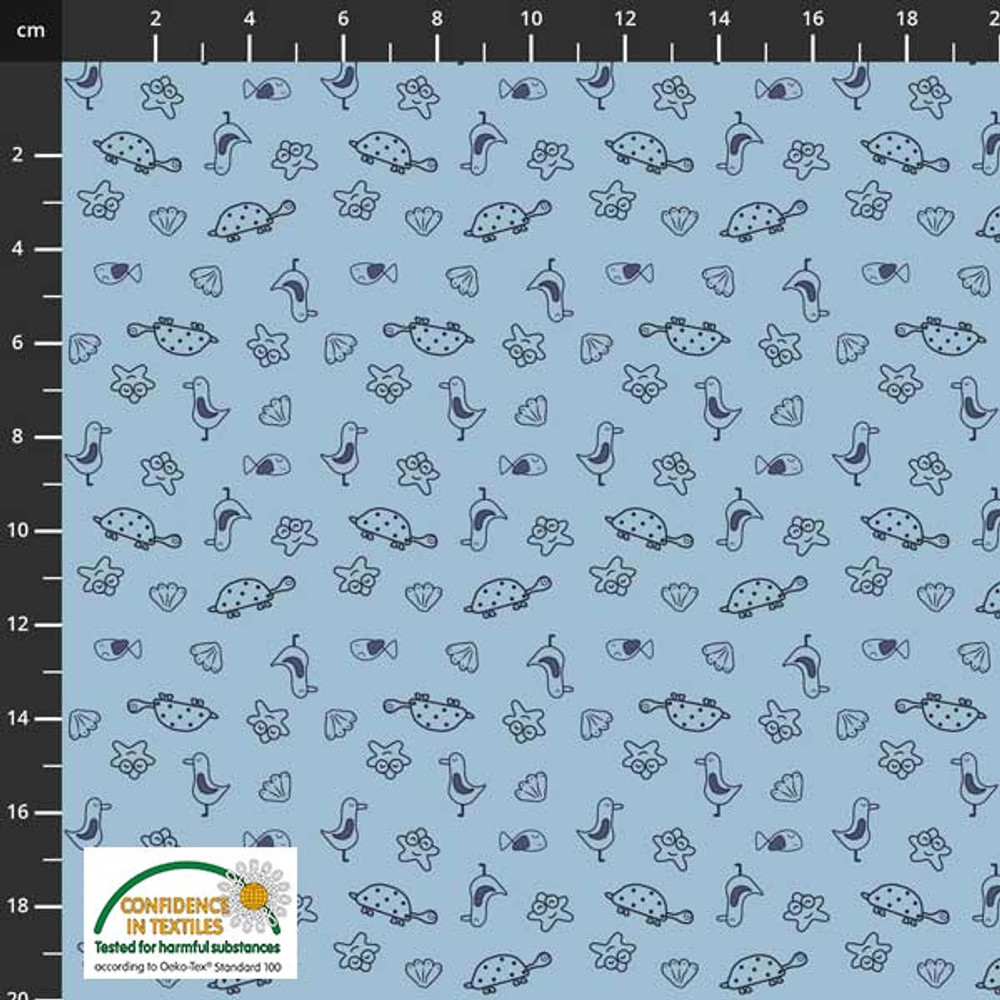 Stof Fabrics Nautical Doodles on Blue Cotton Lycra Knit