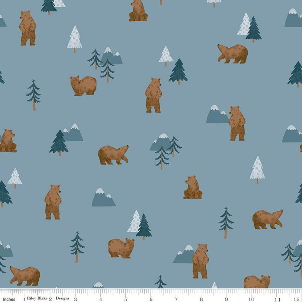 Riley Blake Camp Woodland Grizzly Bears on Denim Quilting Cotton