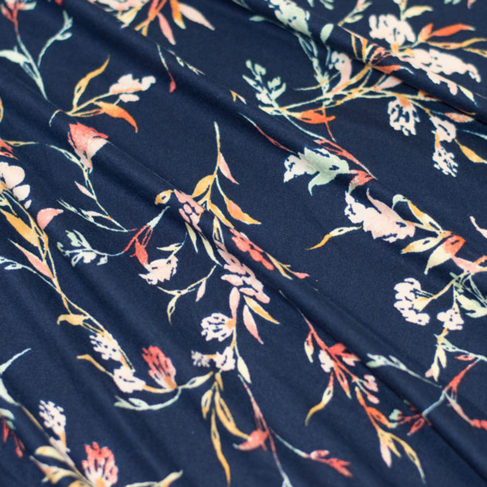 Floral on Navy Double Brushed Poly
