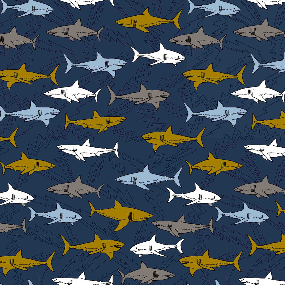 Electric Shark on Navy Organic Cotton Lycra Knit