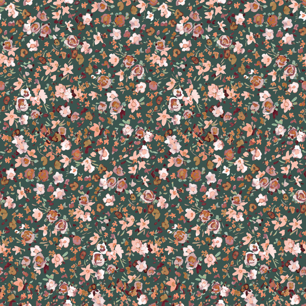 Flowers on Old Green Organic Cotton Lycra Knit
