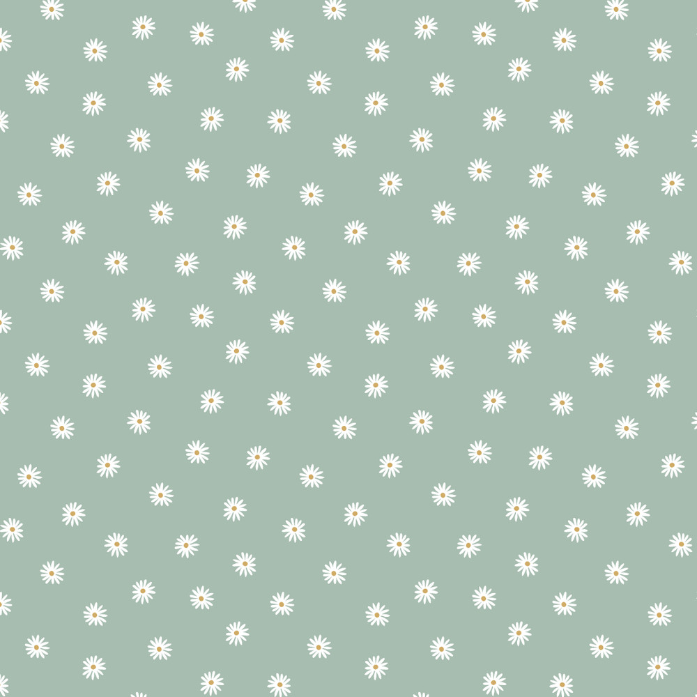 Small White Flowers on Mint Organic Cotton Lycra Knit