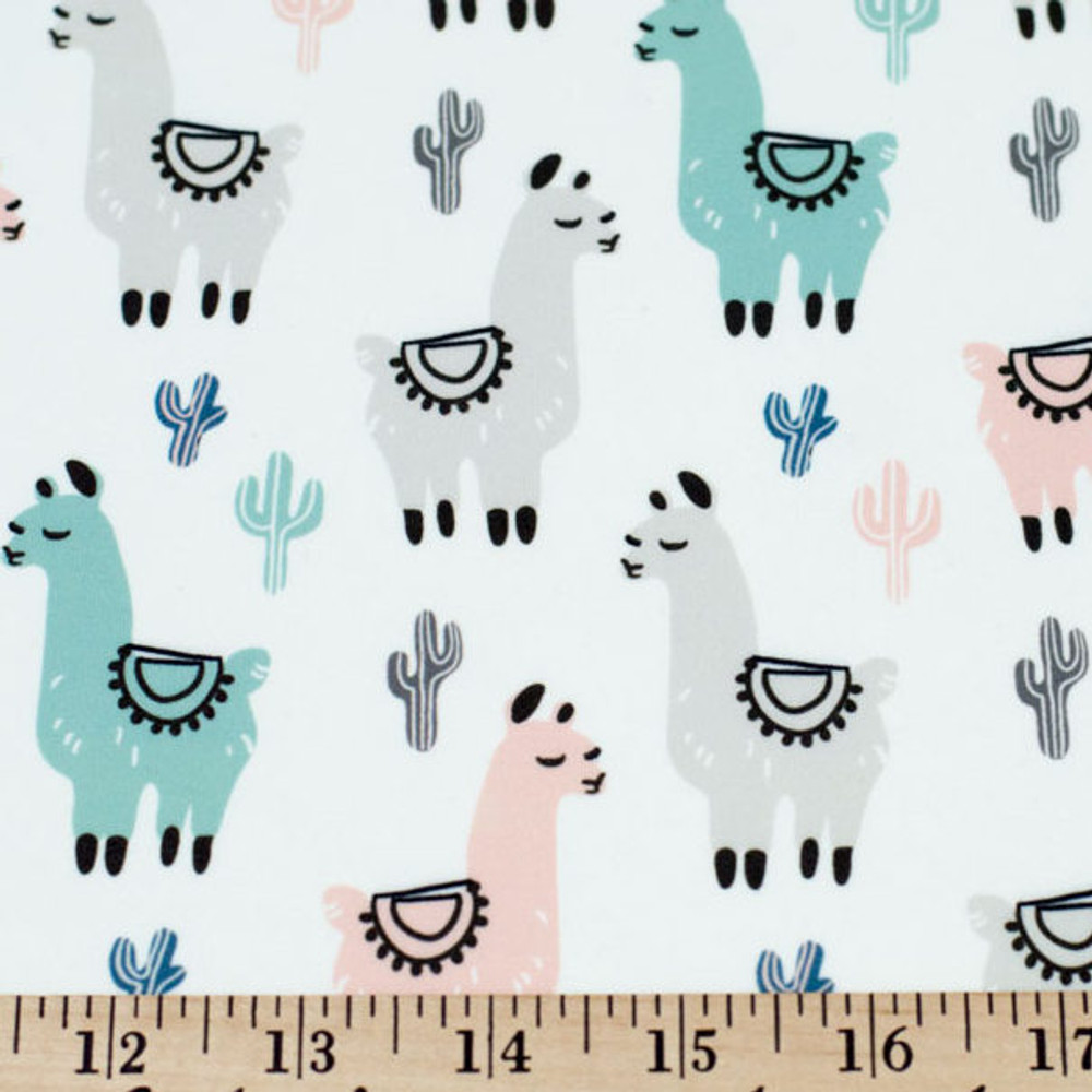 Llama & Cacti in Blush & Teal on Double Brushed Poly