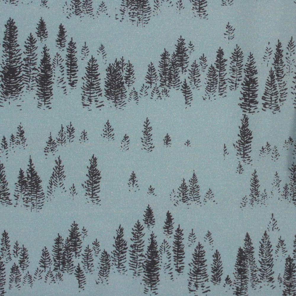 Pine Tree Forest on Cotton Lycra