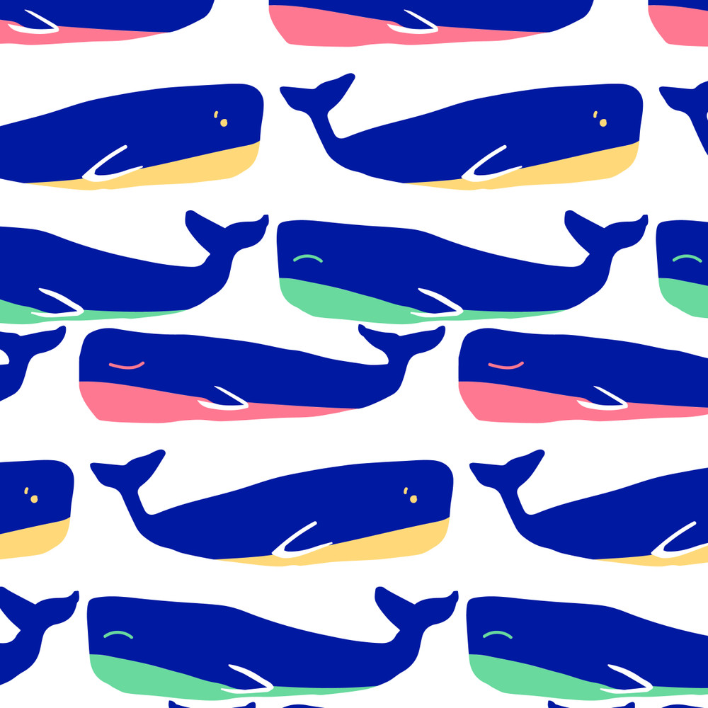 Colorful Whales on White Cotton Lycra