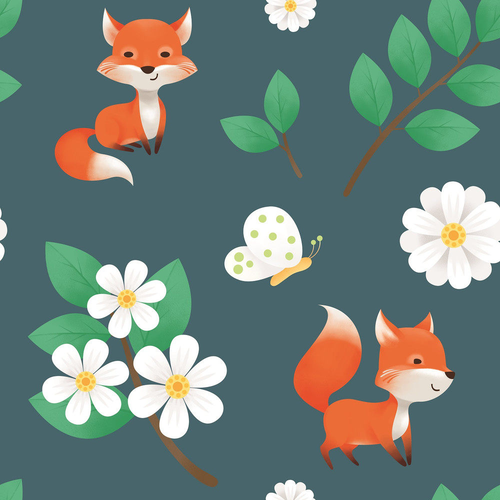 Foxes on Cotton Lycra