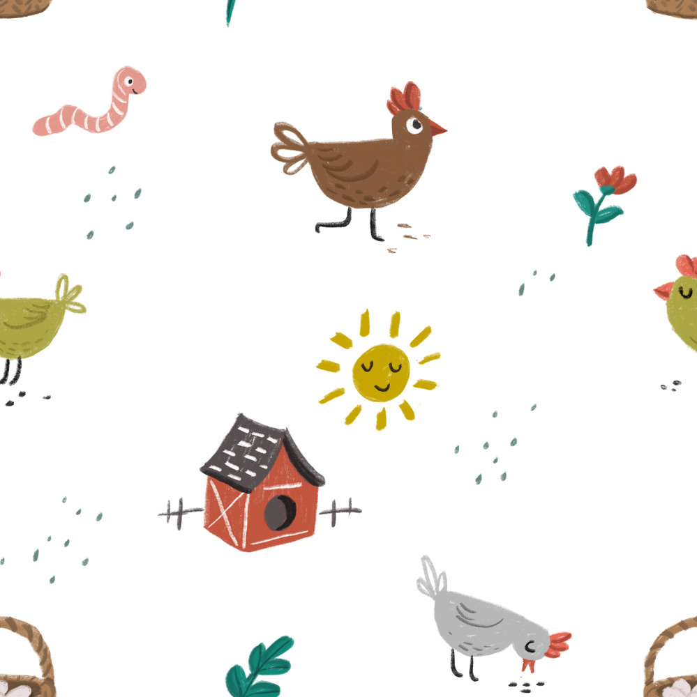 Chickens on the Farm on Cotton Lycra