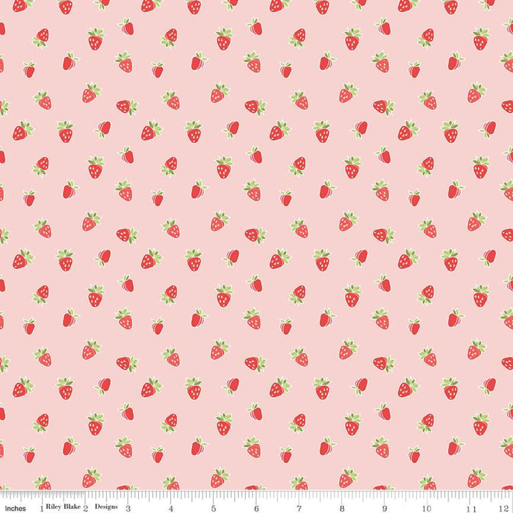 Riley Blake Strawberry Honey Strawberries on Blush Quilting Cotton