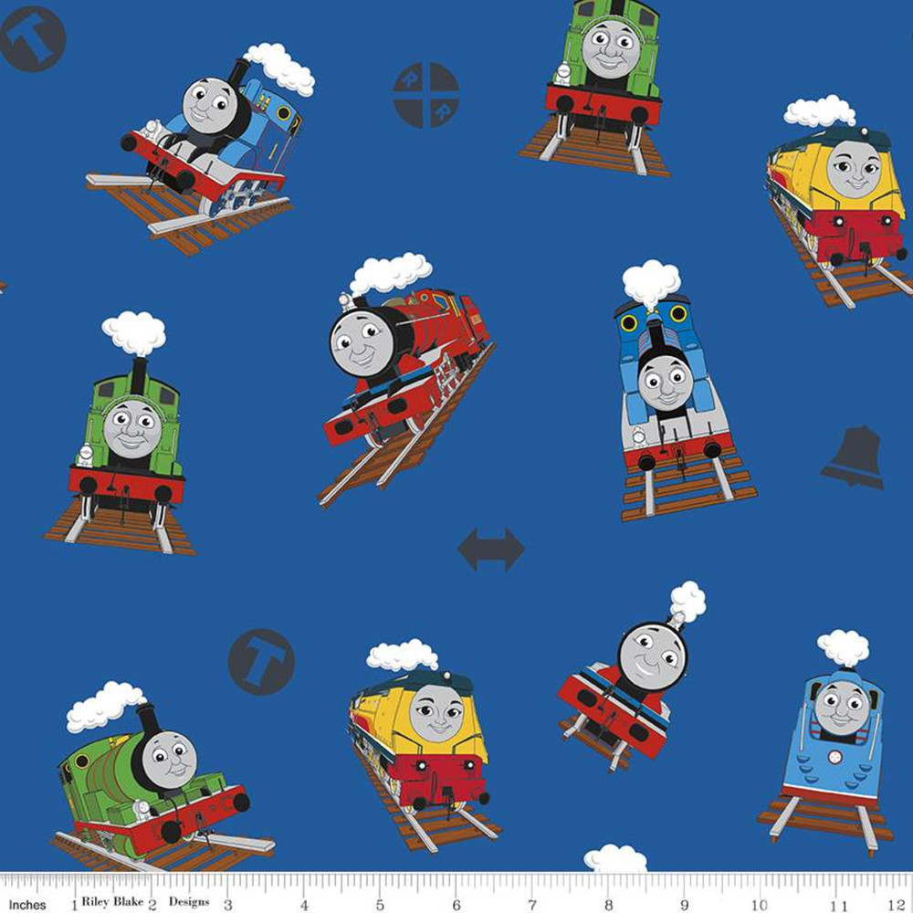 Riley Blake Thomas & Friends All Aboard on Blue Quilting Cotton