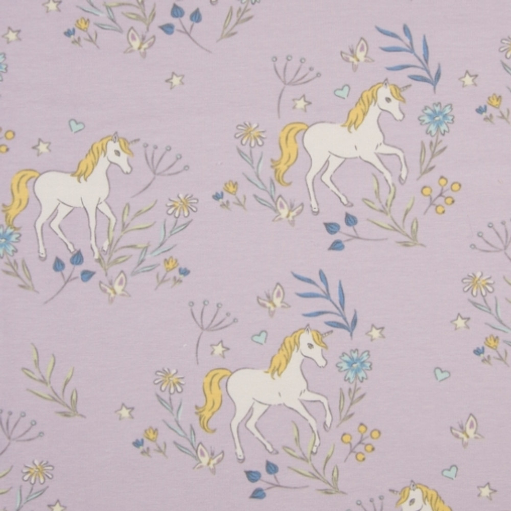 Unicorns on Lilac Cotton Lycra Knit