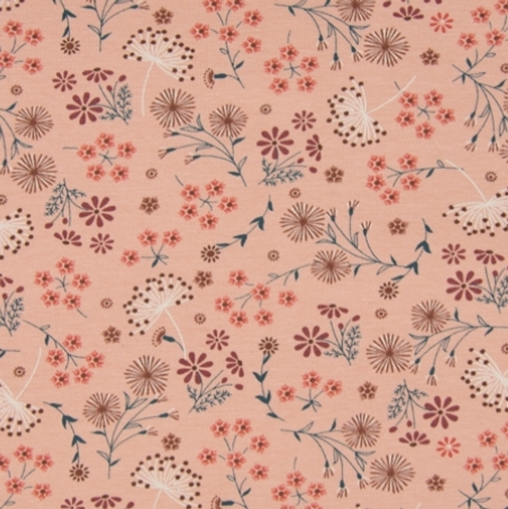 Floral on Old Rose Cotton Lycra Knit
