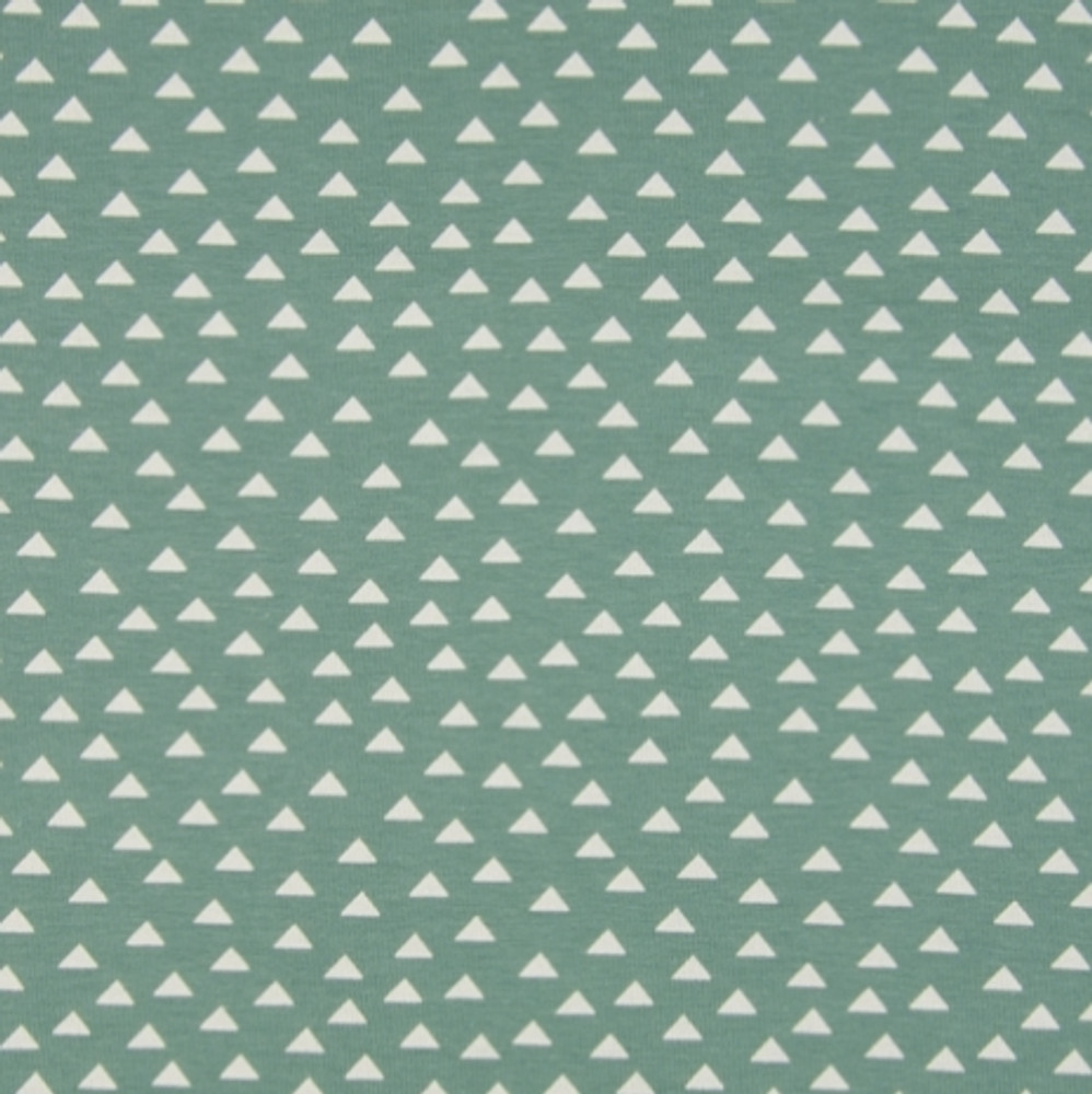 Triangles on Dusty Green Cotton Lycra Knit