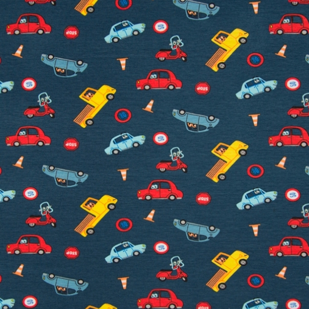 Cars on Navy Cotton Lycra Knit