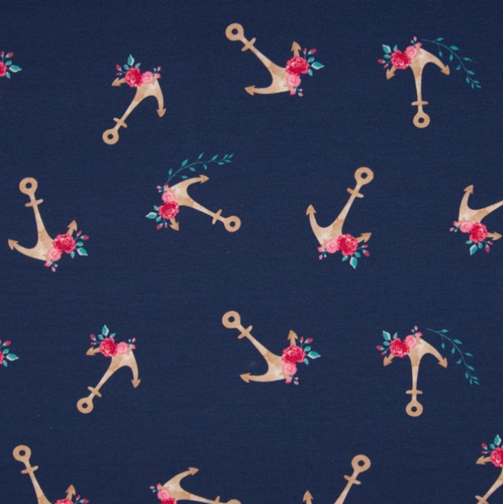Floral Anchors on Navy Cotton Lycra Knit