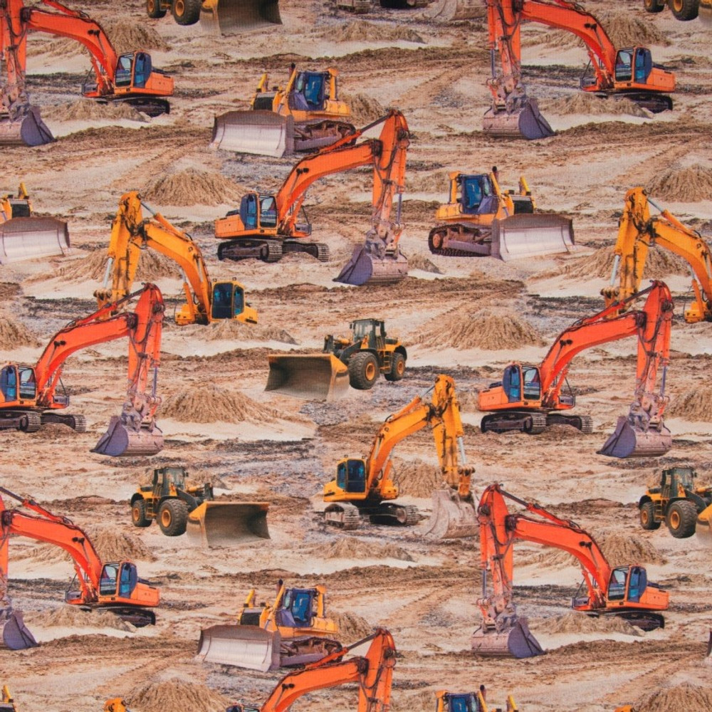Diggers in Dirt on Cotton Lycra Knit