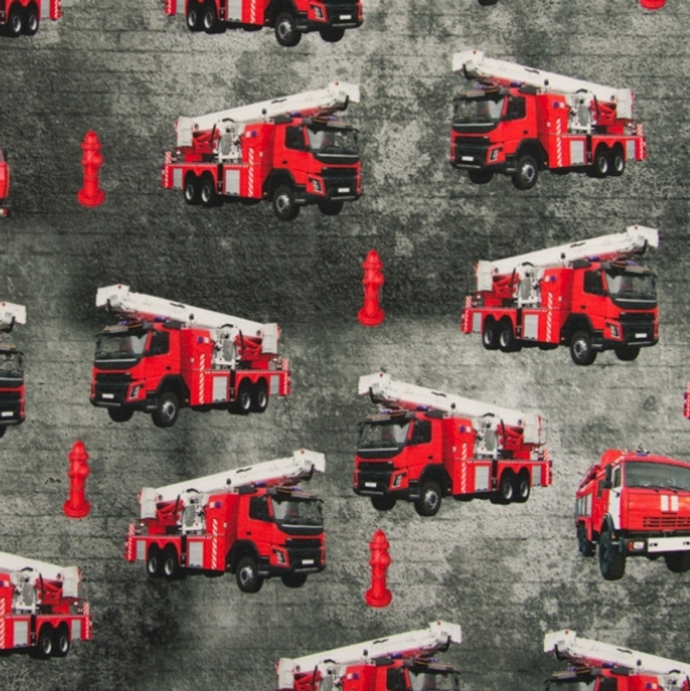 Firetrucks on Gray Melange Cotton Lycra Knit