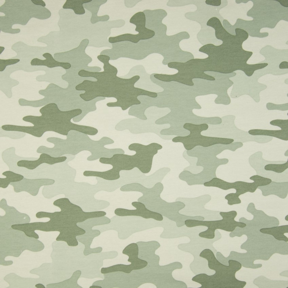 Light Green Camouflage on French Terry Knit