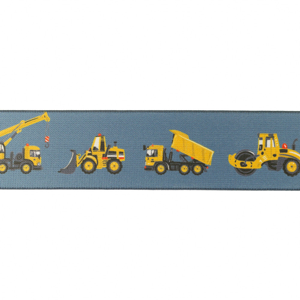 """1.5"""" Construction Vehicles on Denim Blue Elastic- Sold by the Yard"""