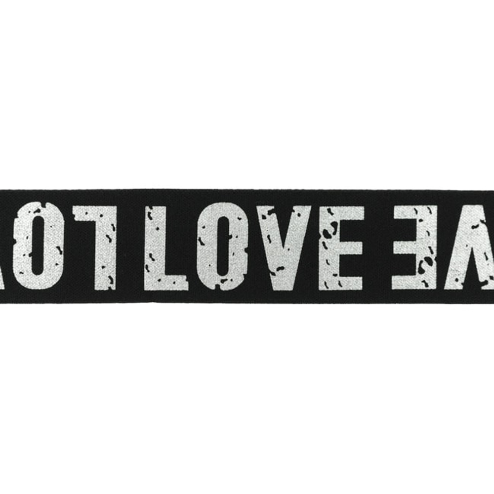 """1.5"""" Love on Black Elastic- Sold by the Yard"""