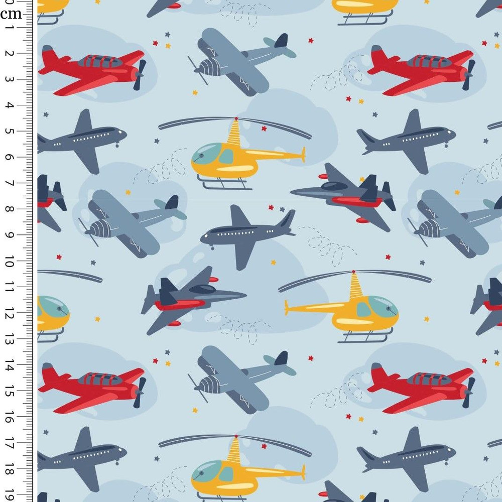 Planes & Helicopters on Blue Cotton Lycra