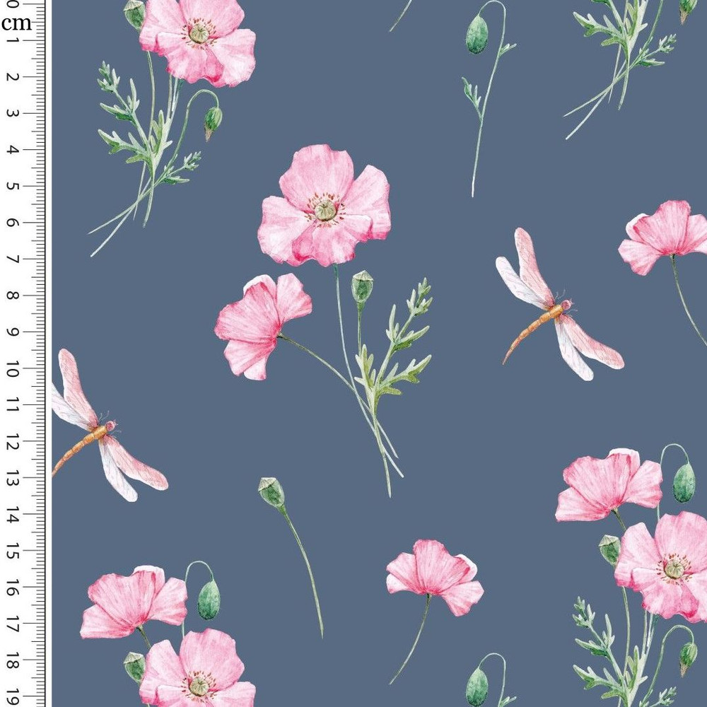Poppies and Dragonflies on Dusty Blue Cotton Lycra