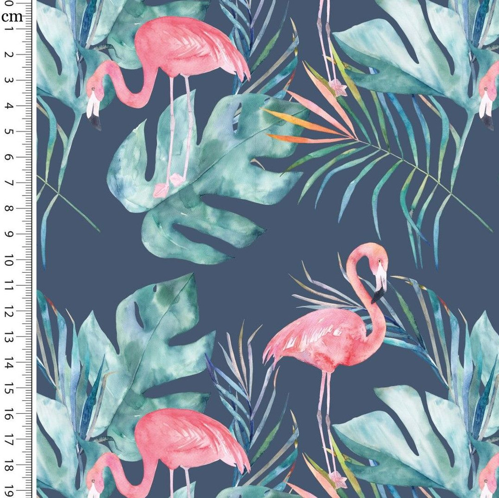 Flamingos and Leaves on Navy Cotton Lycra