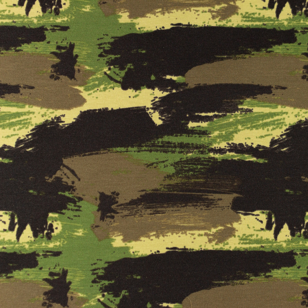 Graffiti Camouflage in Army Green Cotton Lycra Knit