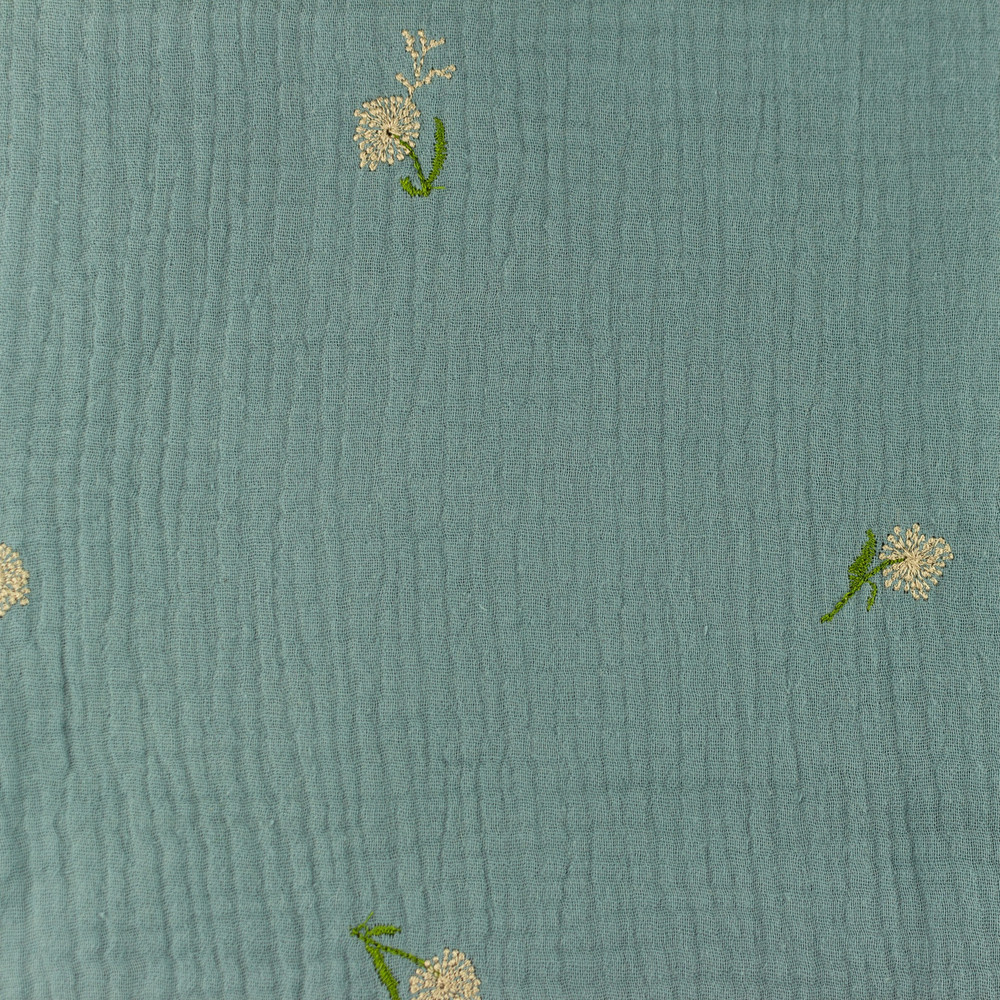 Embroidered Dutch Flower on Steel Blue Double Gauze