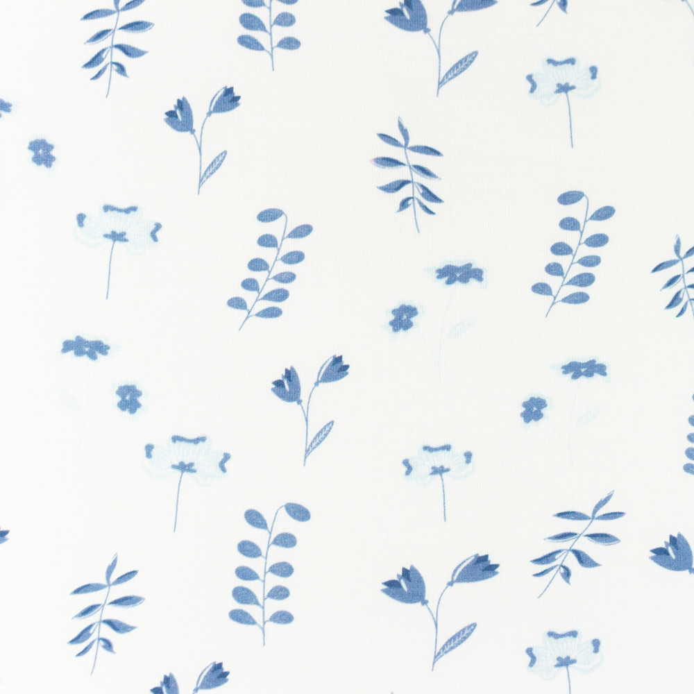 Cynthi Floral in Blue Cotton Lycra Knit