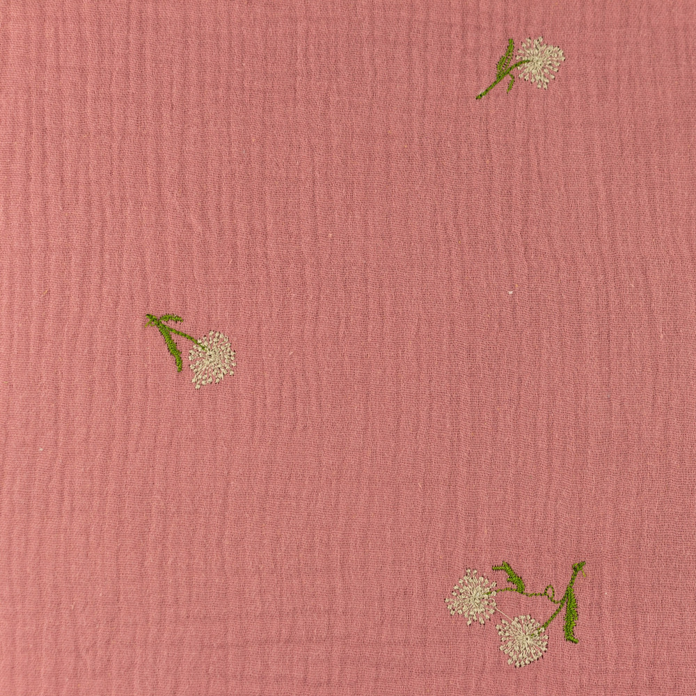Embroidered Dutch Flower on Old Pink Double Gauze