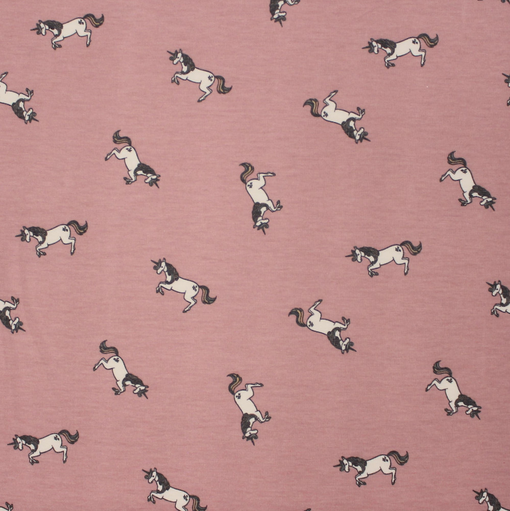 Unicorns on Dusty Old Rose French Terry Knit