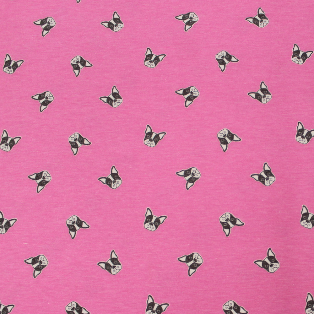 French Bulldogs on Pink French Terry Knit
