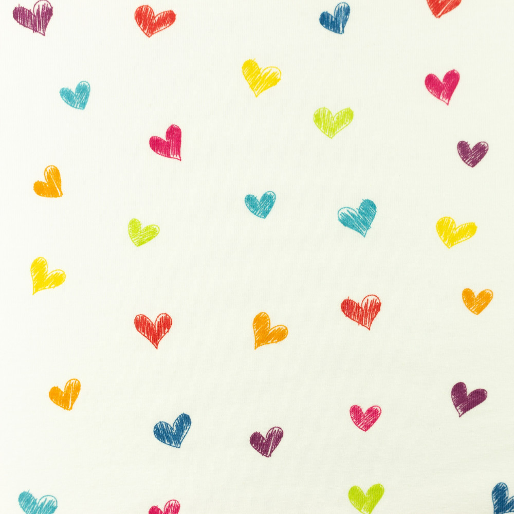 Sketched Rainbow Hearts Cotton Lycra Knit