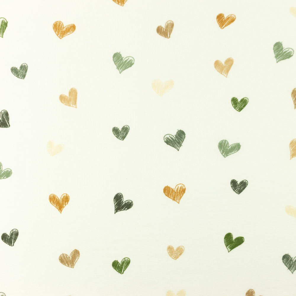 Sketched Army Hearts Cotton Lycra Knit
