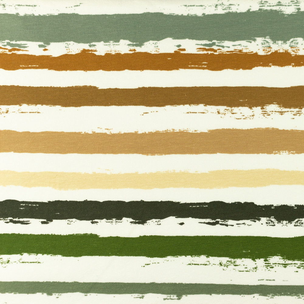Painted Stripes in Army Cotton Lycra Knit