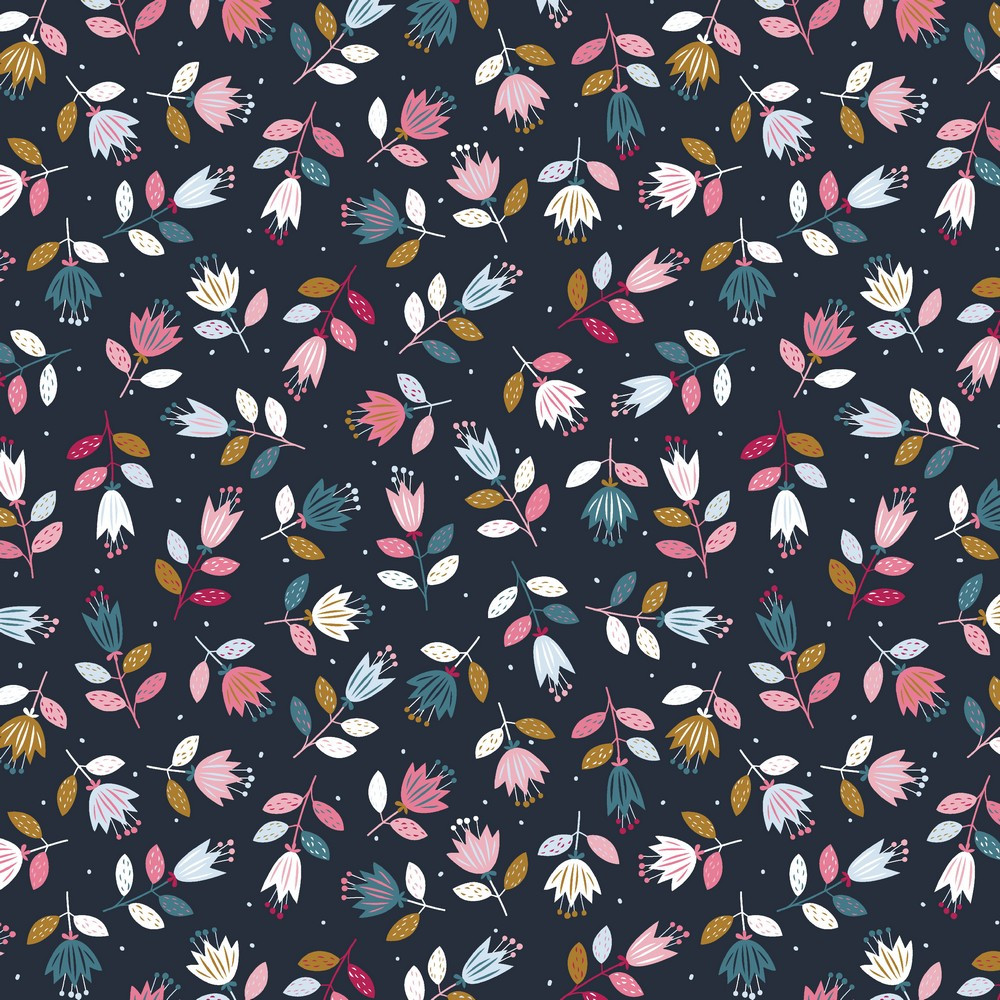 Scandinavian Floral on Navy French Terry