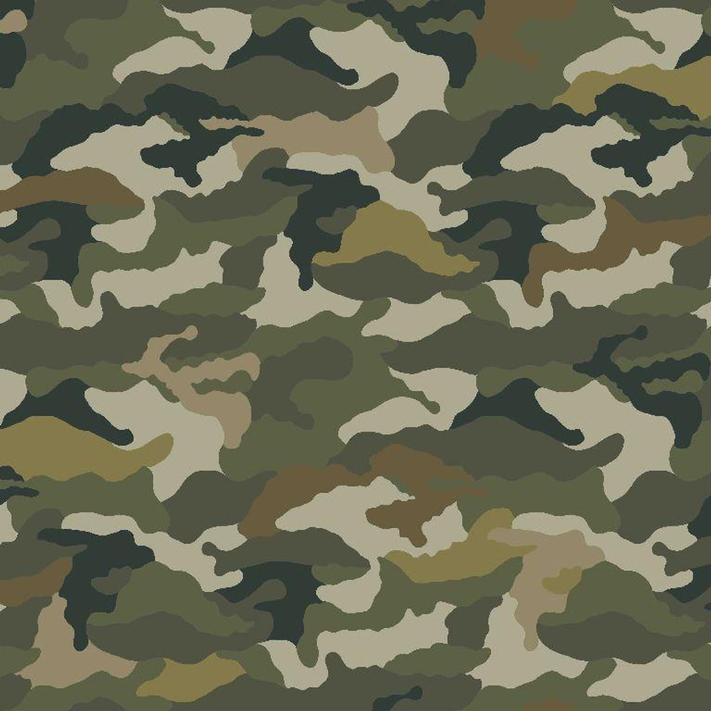 Camouflage in Green Cotton Lycra Knit
