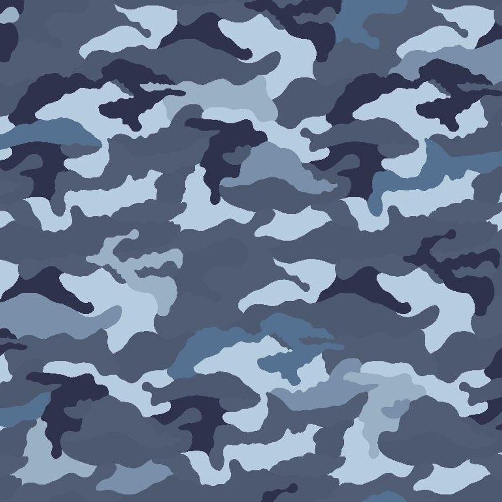 Camouflage in Blue Cotton Lycra Knit