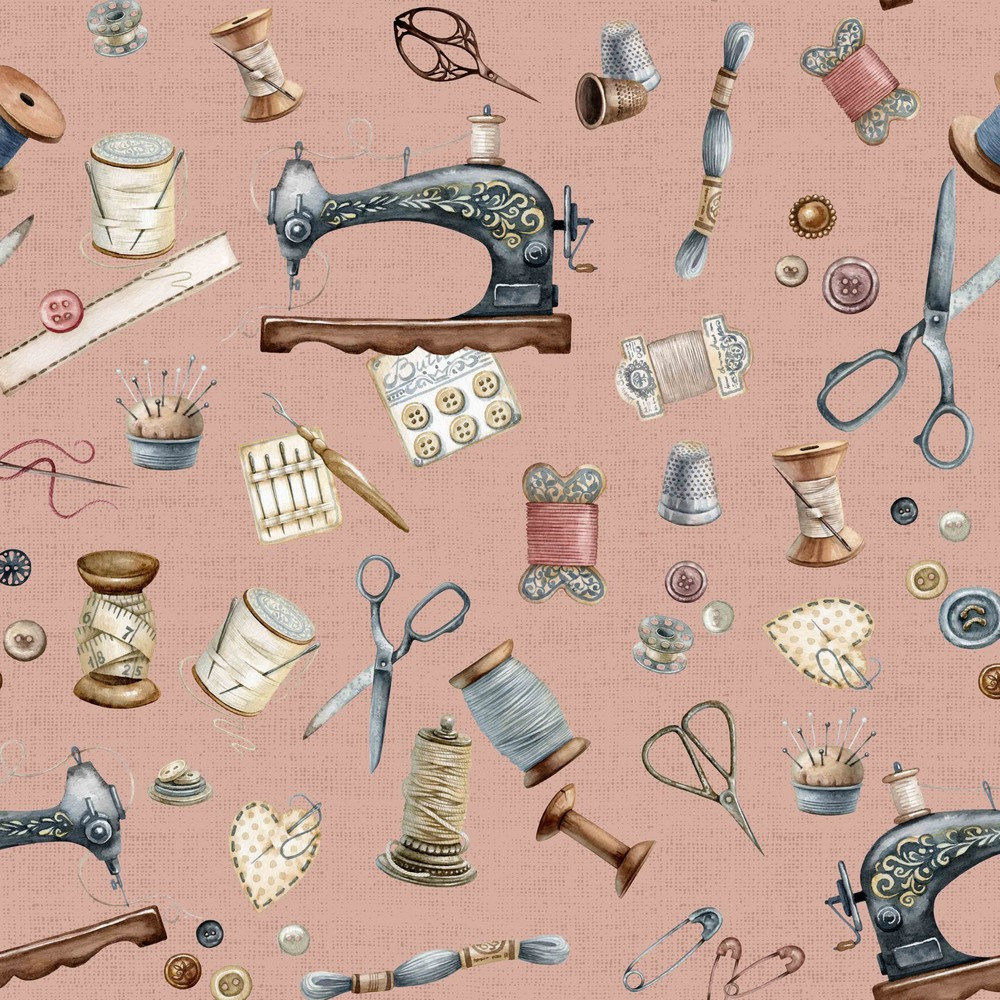 Sewing Kit on Dusty Pink Canvas