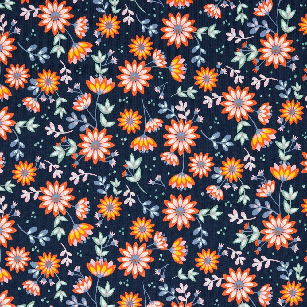 Glitter Floral on Navy Cotton Lycra Knit