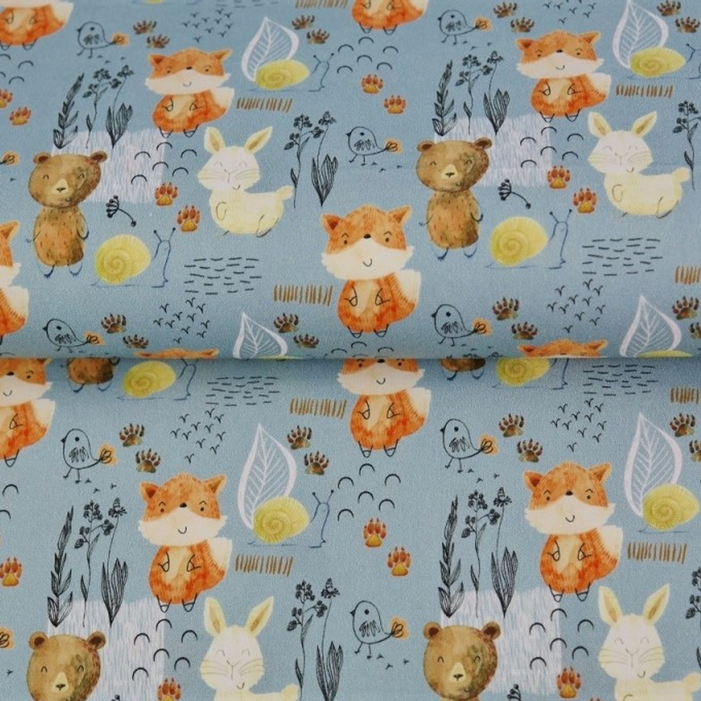 Watercolor Woodland Animals on Blue Cotton Lycra