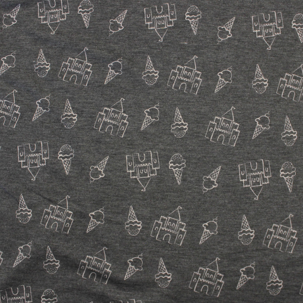 Castles & Ice Cream Cones on Charcoal Rayon Lycra French Terry Knit