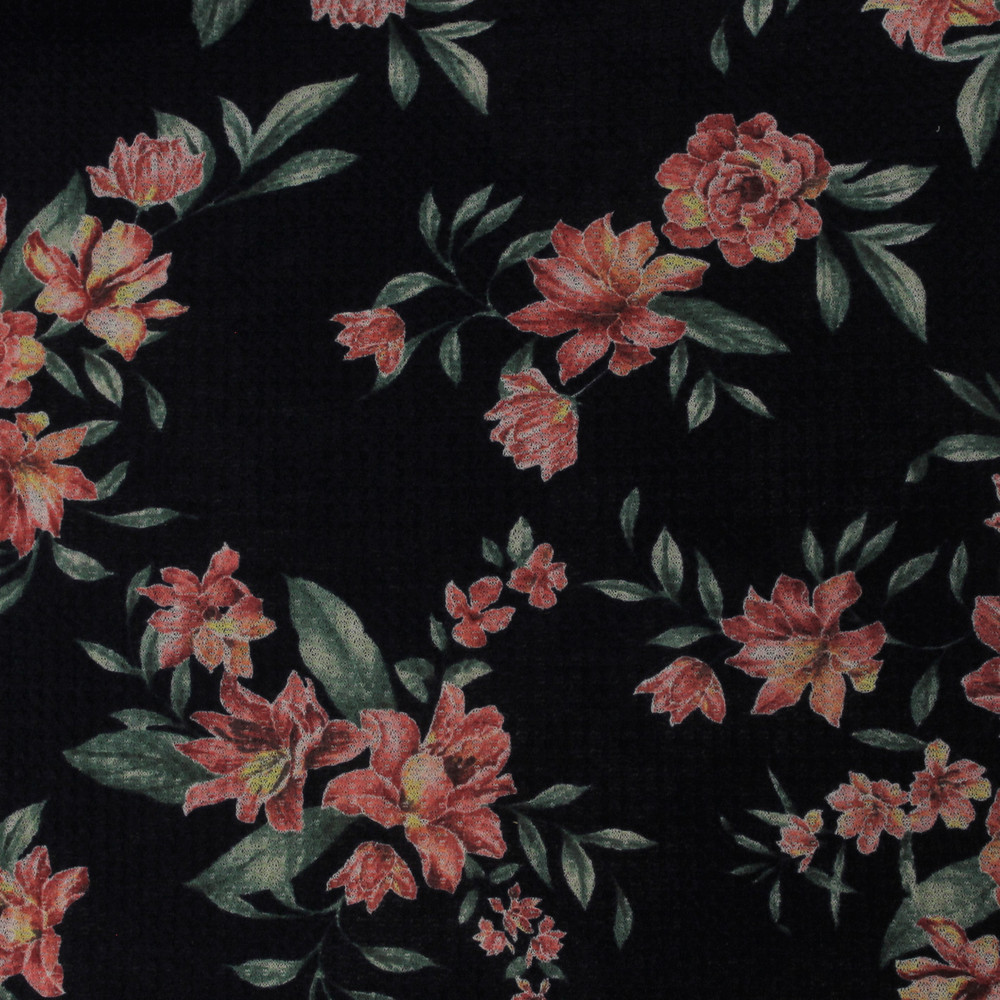 Pink Floral on Navy Waffle Knit