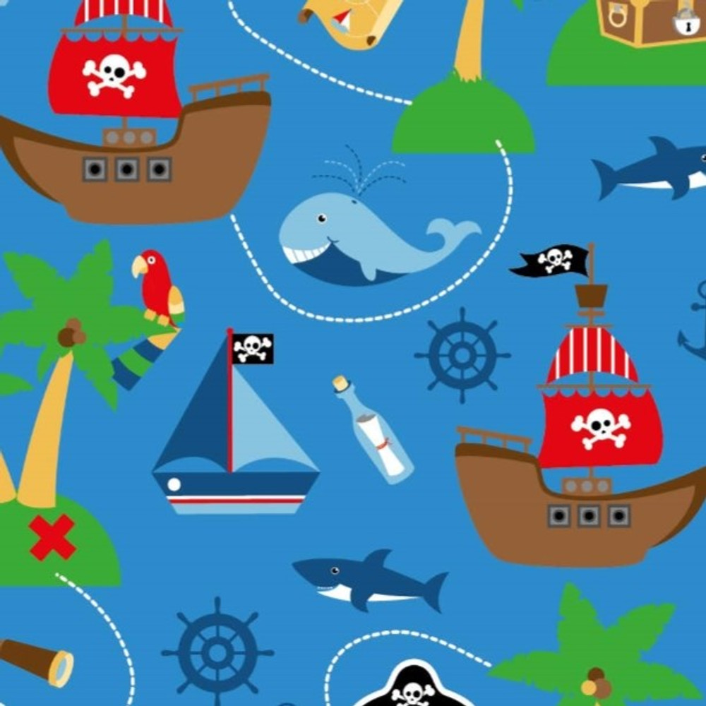 Pirate Adventures on Blue Cotton Lycra