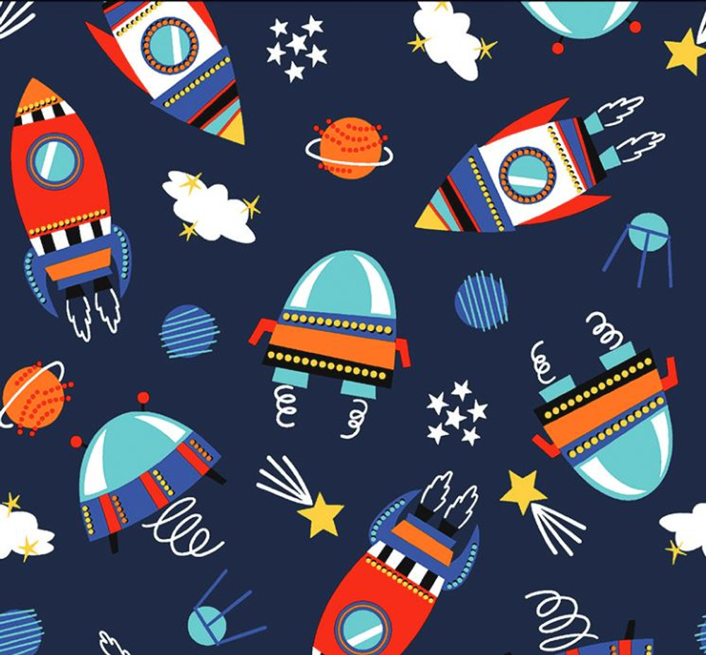 Stof France Space Explorers on Navy Cotton Lycra