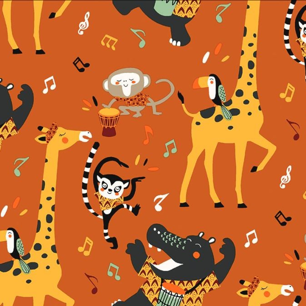 Stof France African Wildlife Band Cotton Lycra