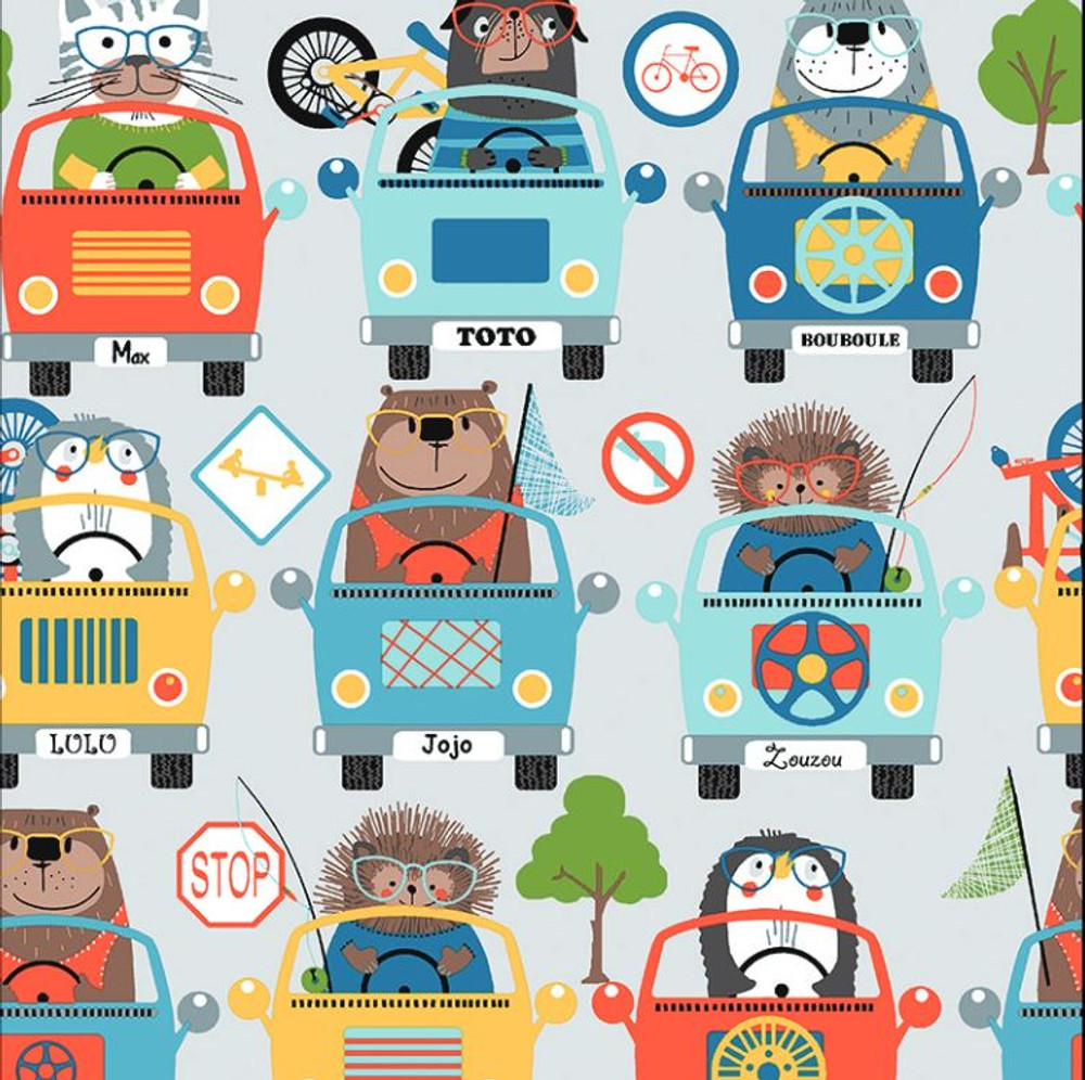 Stof France Animals in Cars Cotton Lycra