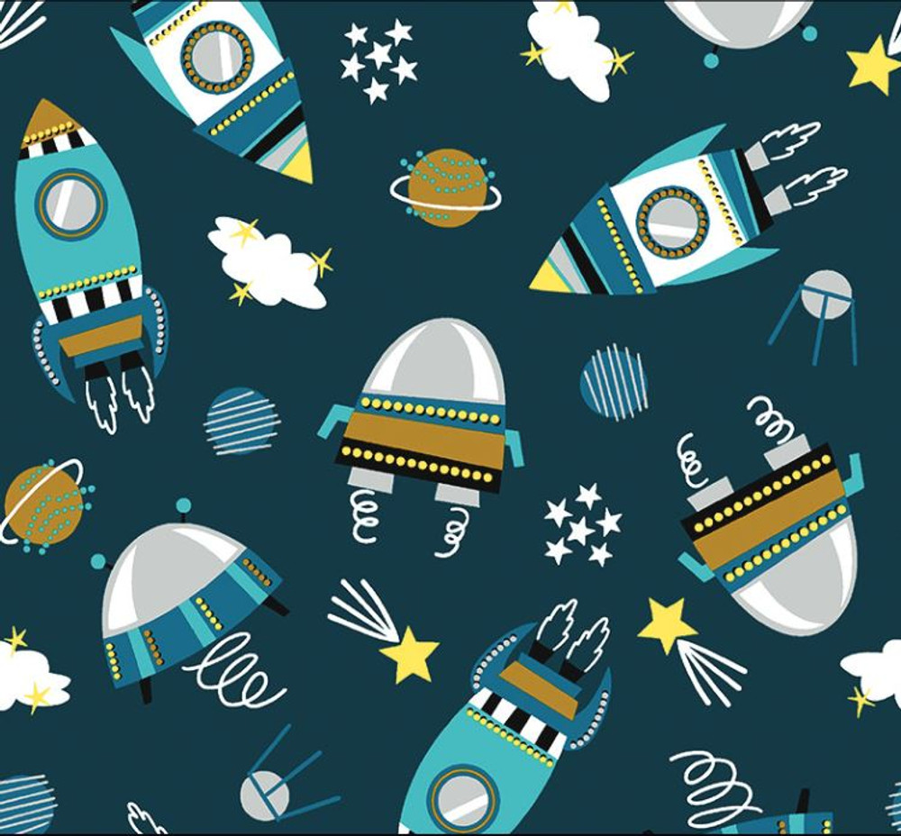 Stof France Space Explorers on Petrol Cotton Lycra