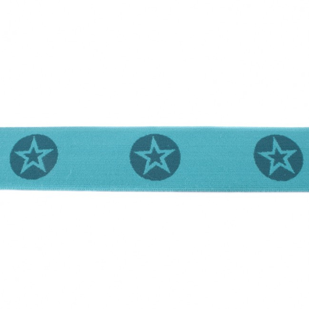 """Woven Stars Dark Mint 1.5"""" Elastic - Sold by the Yard"""