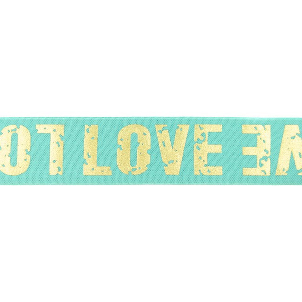 """1.5"""" Love Gold on Mint Polyamide Elastic- Sold by the Yard"""
